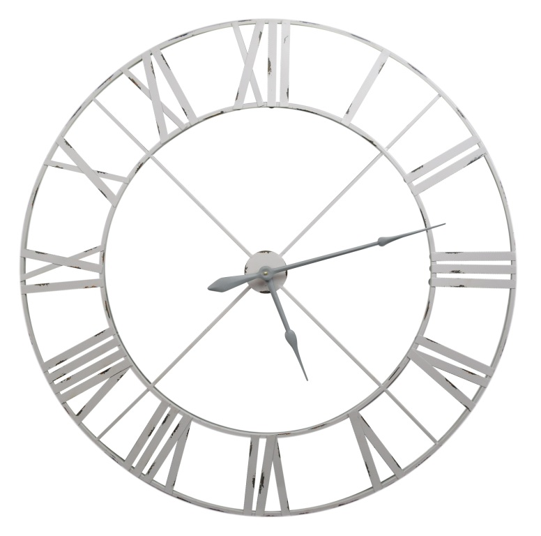 Pale Grey / Off White 110cm Vintage Metal Wall Clock