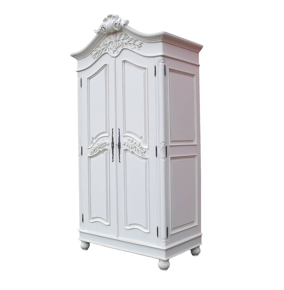 Wooden Carved French Chateau White Double Armoire