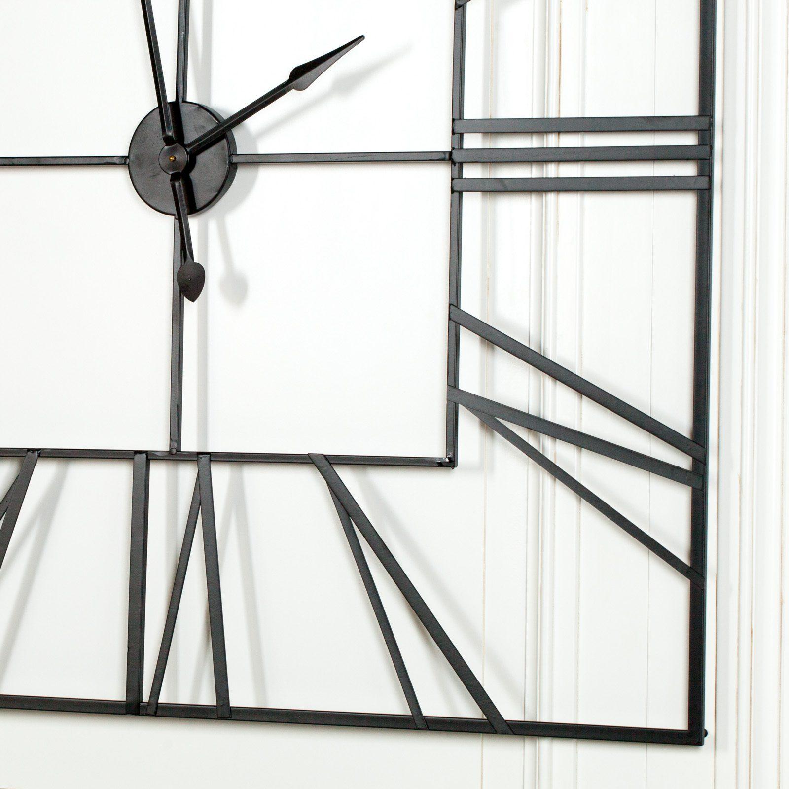 Extra Large 120cm Black Square Metal Wall Clock