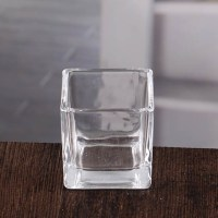 Clear square glass candle holders navy blue square votive ...