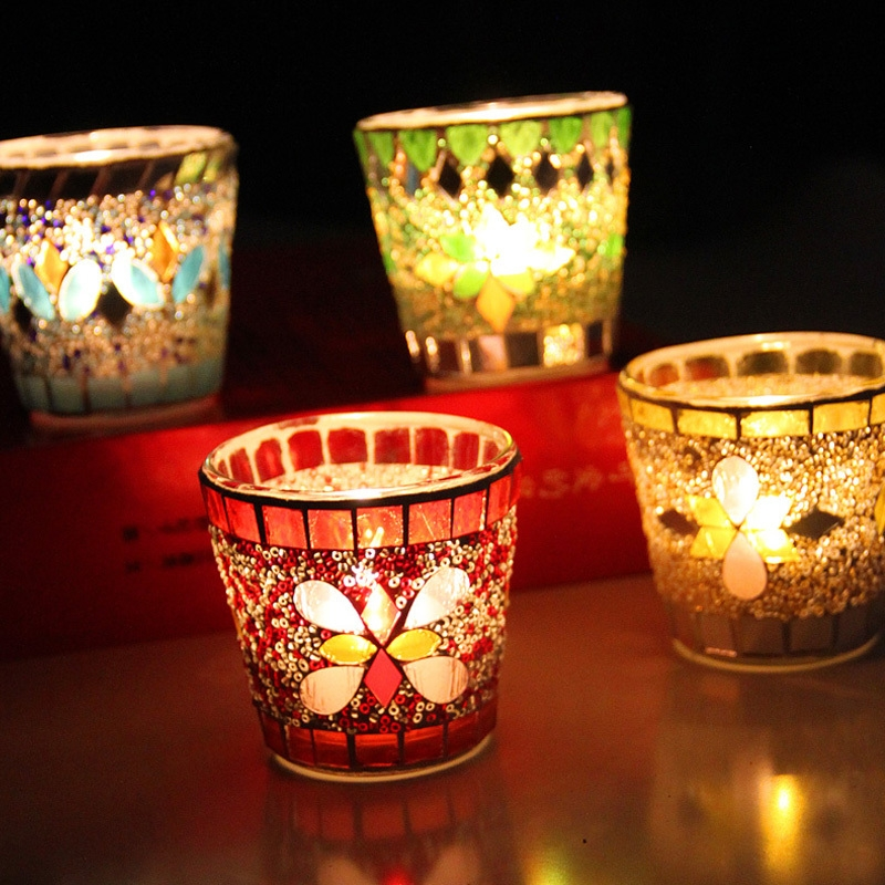 Mosaic votive glass candle holders manufacturer