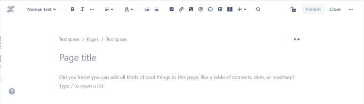 Empty Confluence page