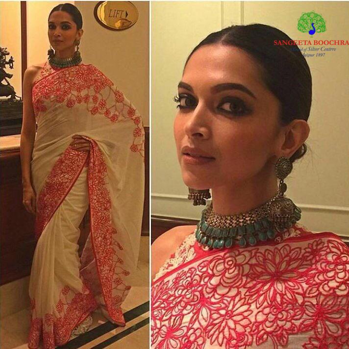 deepika padukone in saree and Indian jewellery