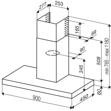 Dessin technique HOTTE MURALE BOX 90 cm - GHB98IX - Glem Gas