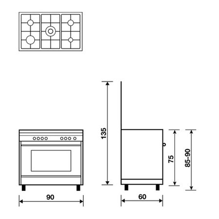AL9612GI Gas oven with Gas grill, Cooking products