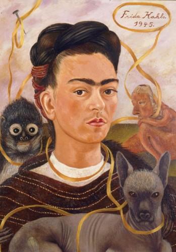 """Frida Kahlo, """"Autorretrato con Changuito"""", 1945"""