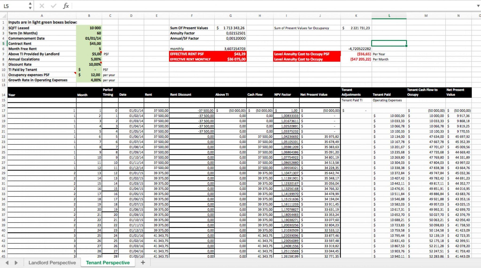Commercial Real Estateysis Spreadsheet