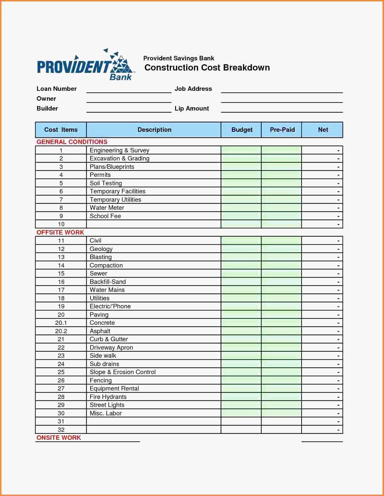 Home Renovation Cost Estimator Spreadsheet