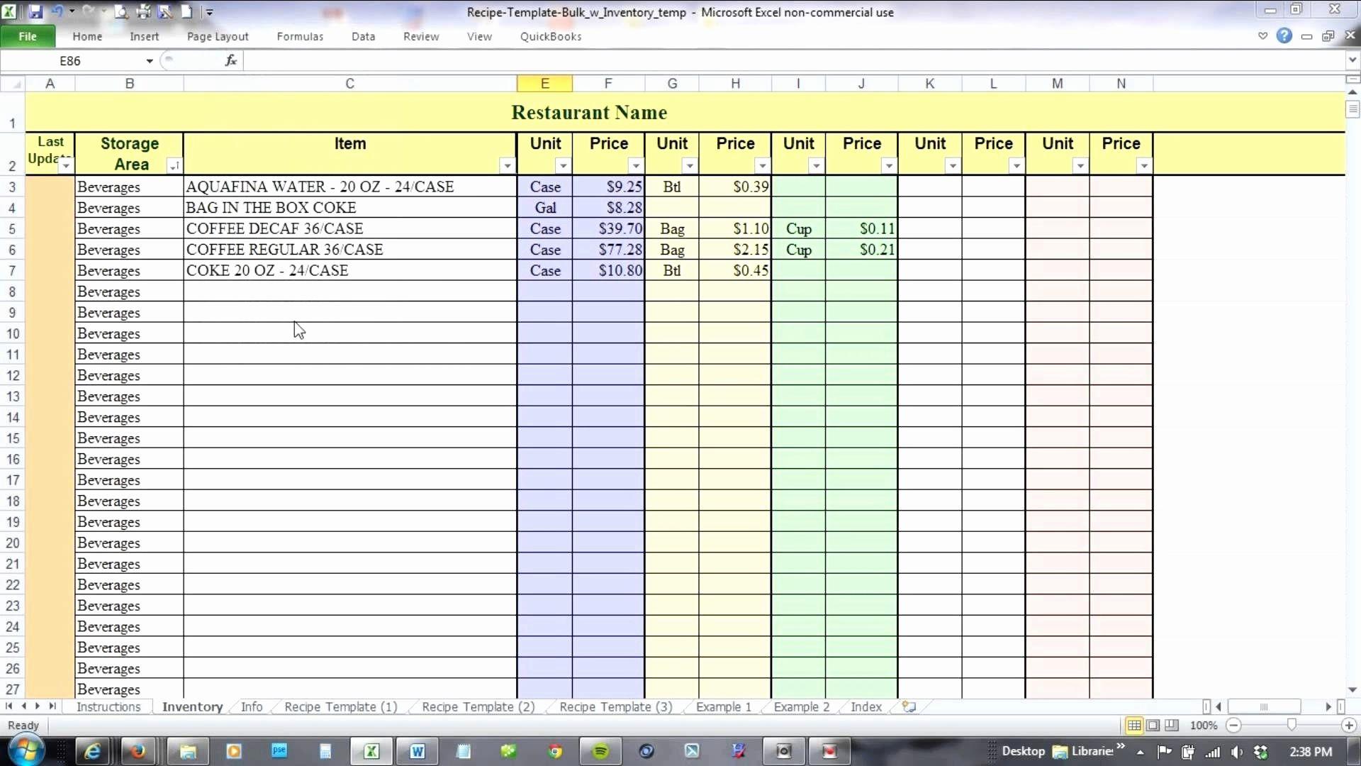 Invoice Sample Excel