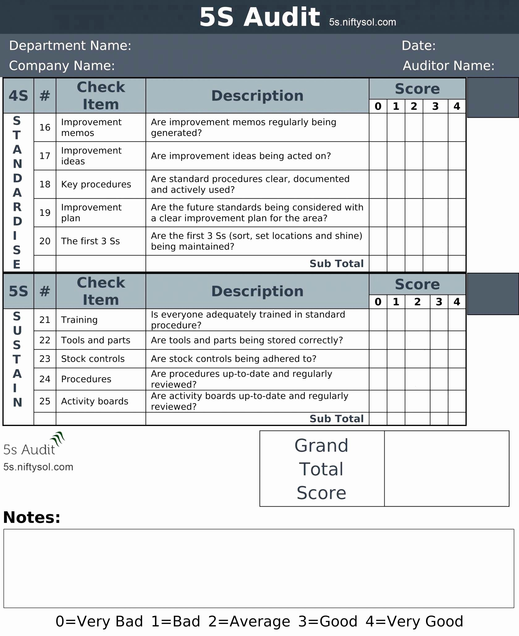 Iso Checklist Excel Template