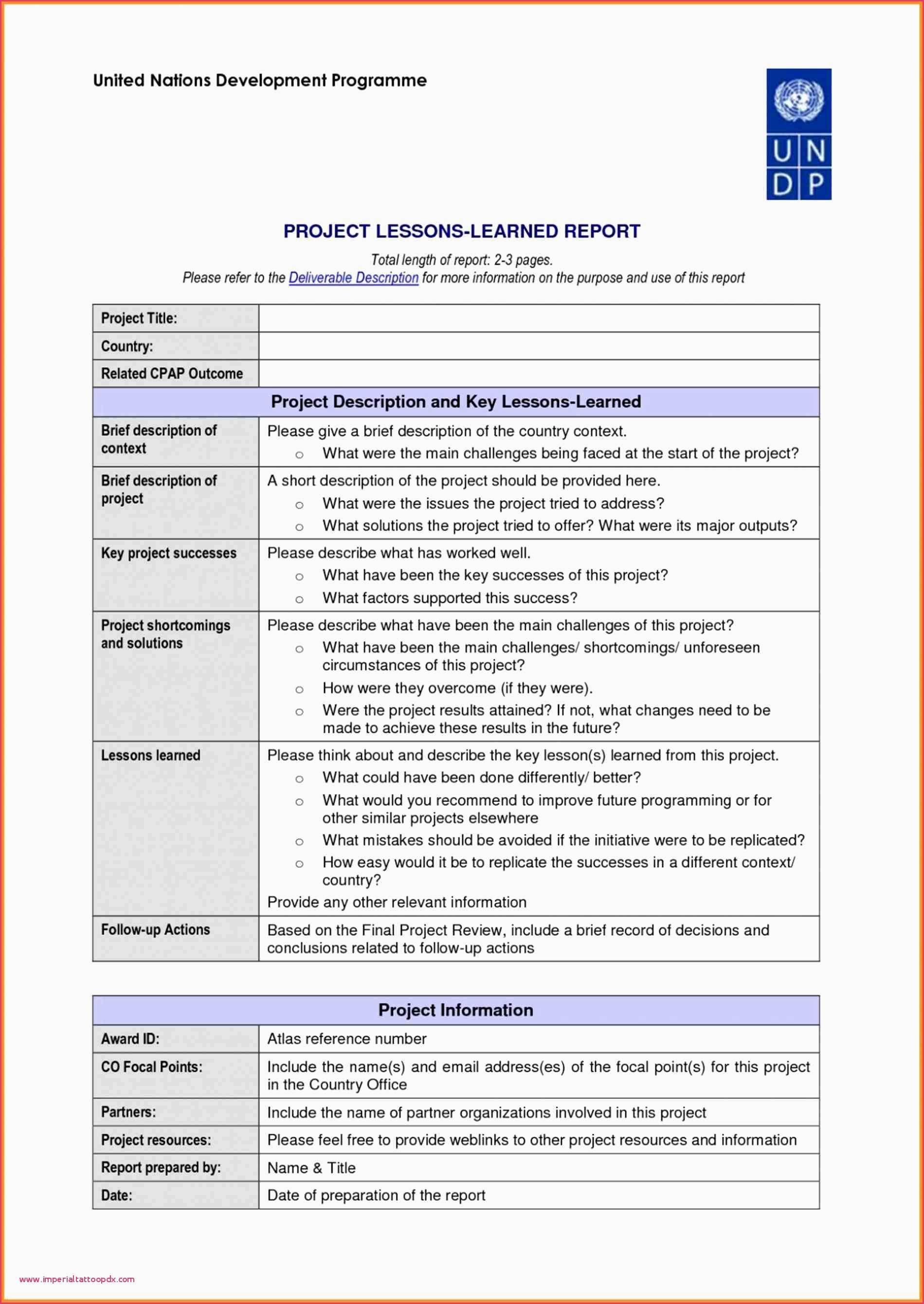 Lessons Learned Template Excel