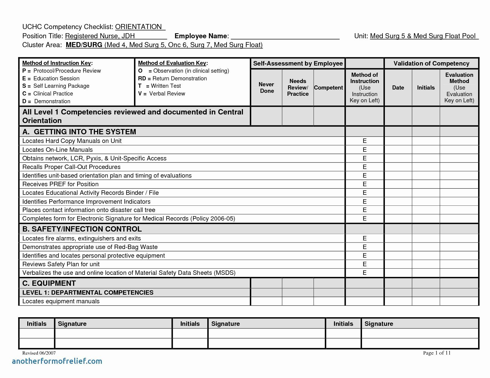 Nursing Assistant Assignment Sheet Template