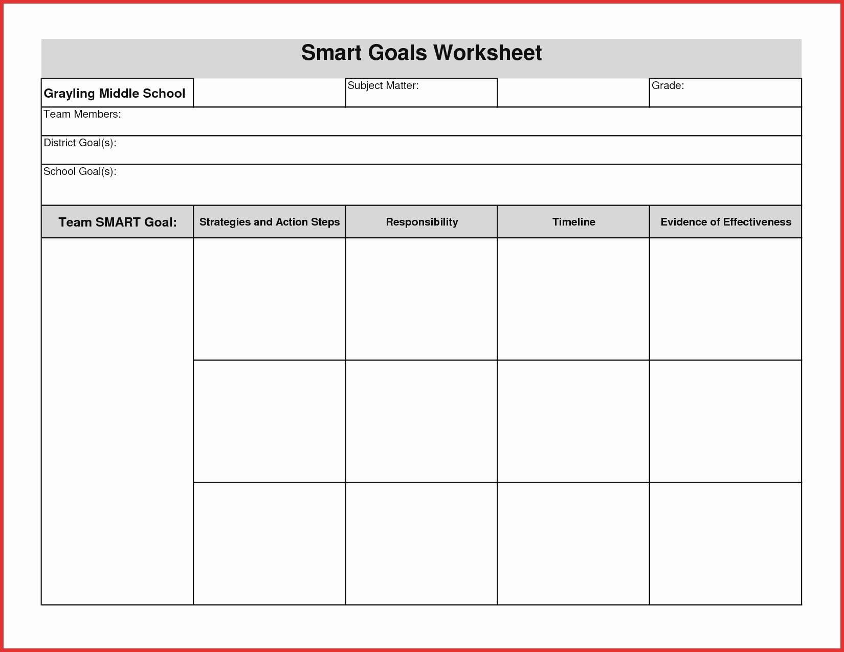 Smart Goal Setting Template Excel
