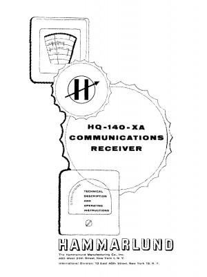 HAMMARLUND HQ-140-XA Communications Receiver Manual
