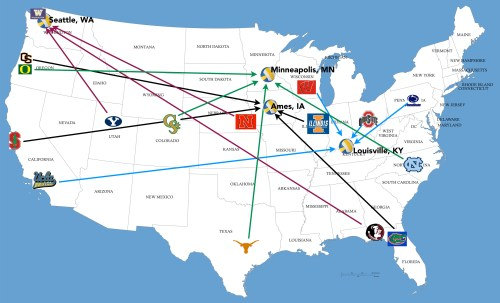 NCAA Volleyball Regionals Map
