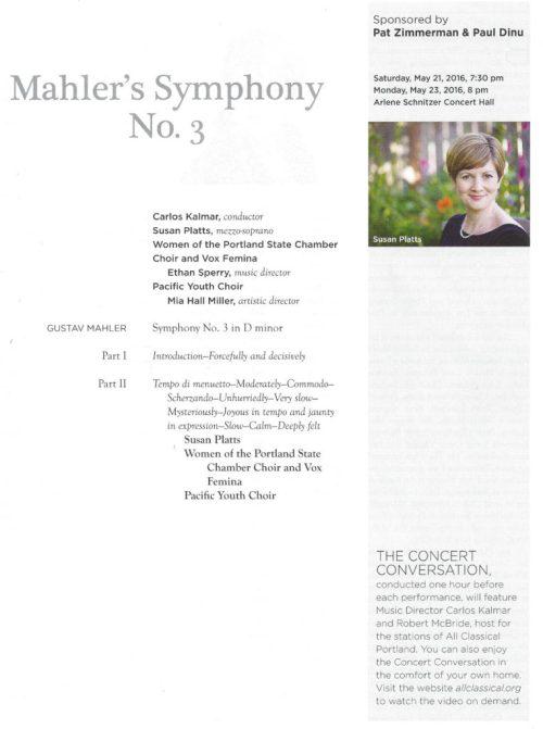 Mahler 3 Oregon