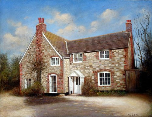 Pear Tree Cottage, 45 x 35 cm, Acrylic on Panel