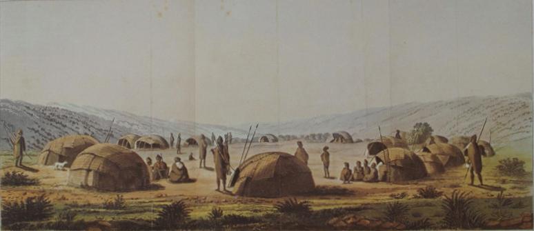 Painting of a San kraal