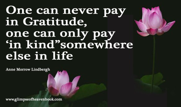 "One can never pay in Gratitude, one can only pay 'in kind""somewhere else in life Anne Morrow Lindbergh"