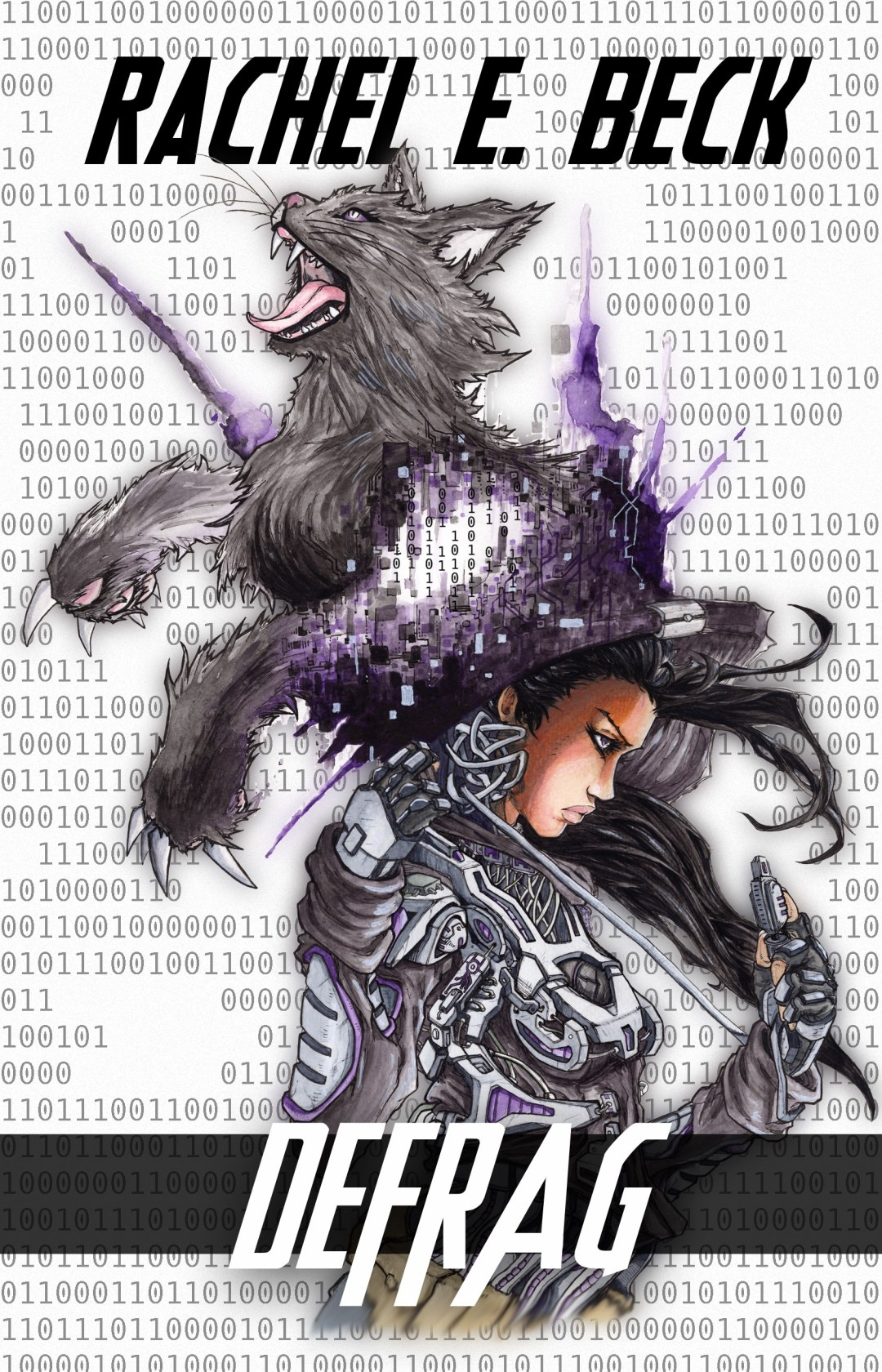 Glitch Logs Book 1 Cover - Glitch becoming her pixelated cat avatar