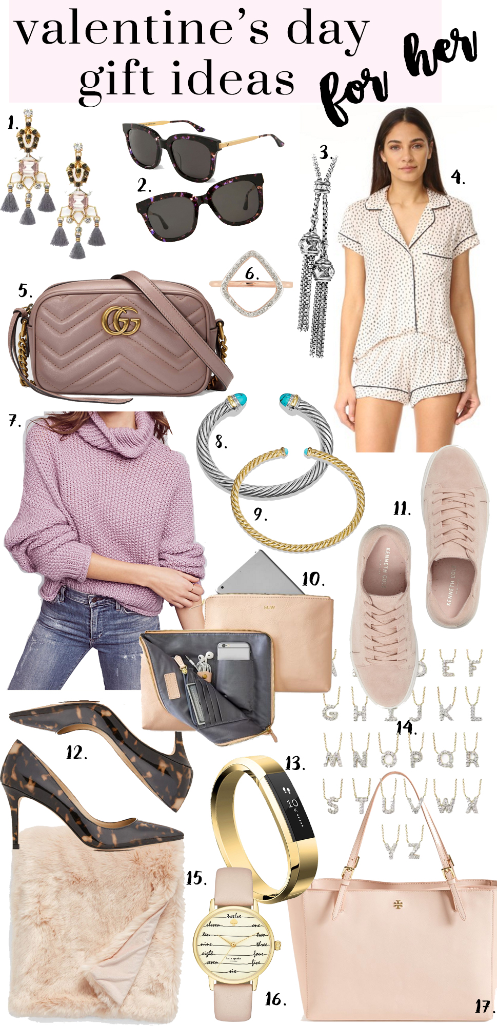Valentine's Day Gifts for Her:: Valentine's Day Gift Guide Ft. Tory Burch, David Yurman, Gucci, Stella & Dot, Ann Taylor, Mark & Graham