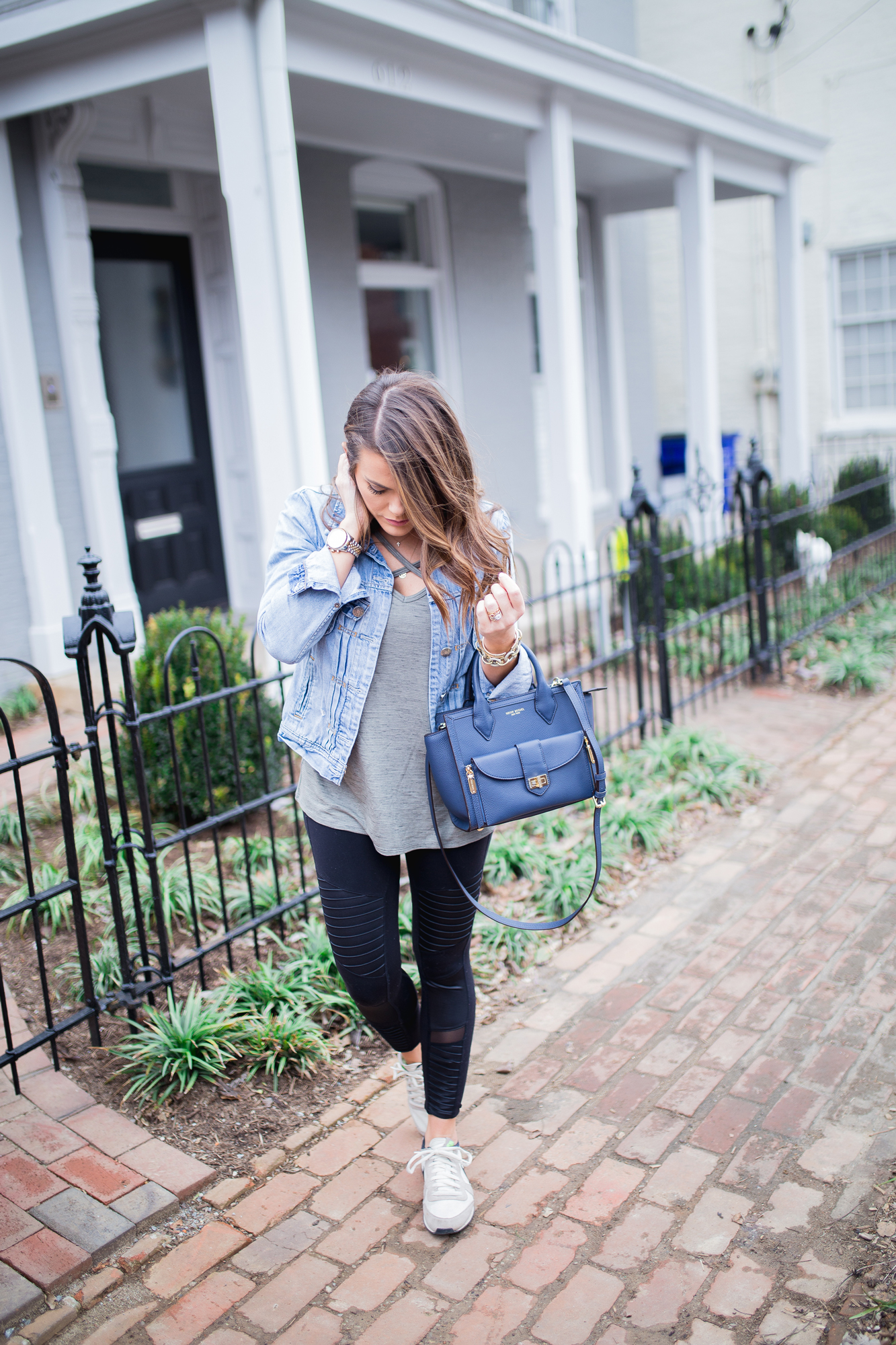 Athleisure Outfit Inspiration ft. Alo Moto Leggings, Denim Jacket, Nike Sneakers, Henri Bendel