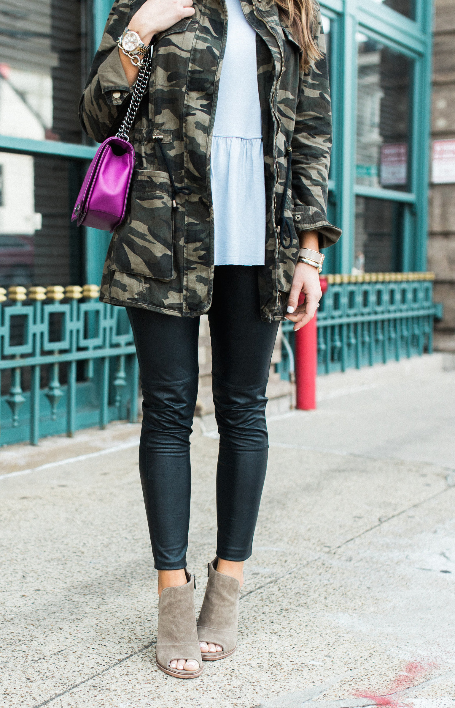 Spring Outfit Inspiration via Glitter & Gingham // Ft. Camo Jacket, Leather Leggings, Vince Camuto Booties, Rebecca Minkoff Bag