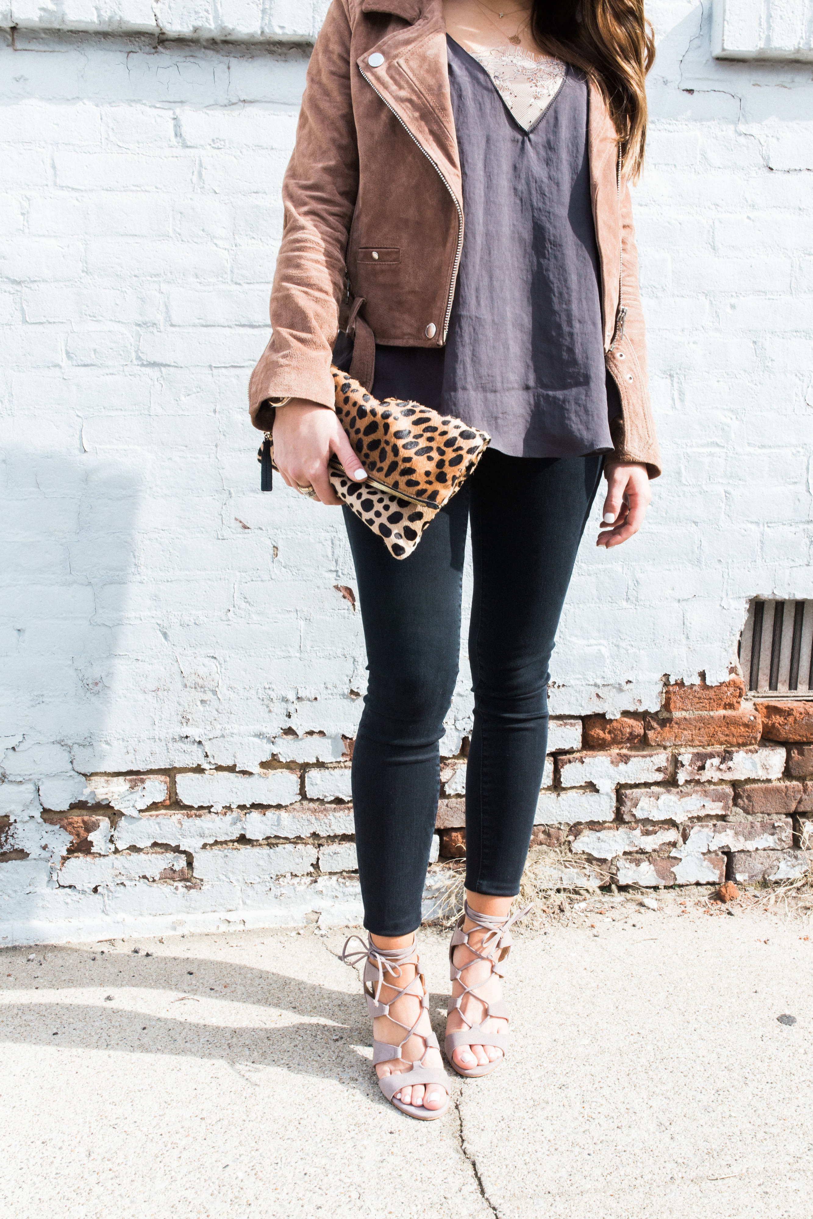 Spring Outfit Inspiration // Ft. BlankNYC Suede Jacket, Free People Cami, Vince Camuto Lace Up Sandals, Clare V. Leopard Clutch