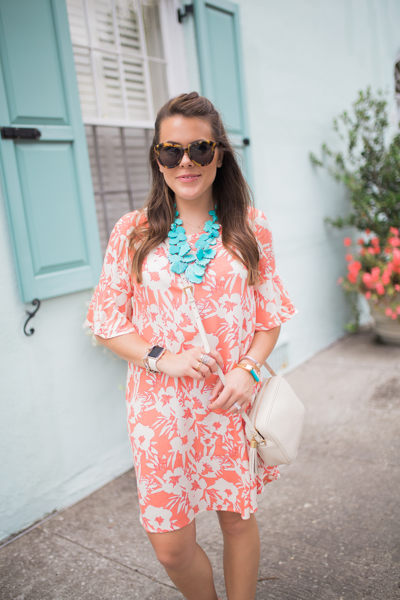 Orange Floral Dress / what to wear in Charleston