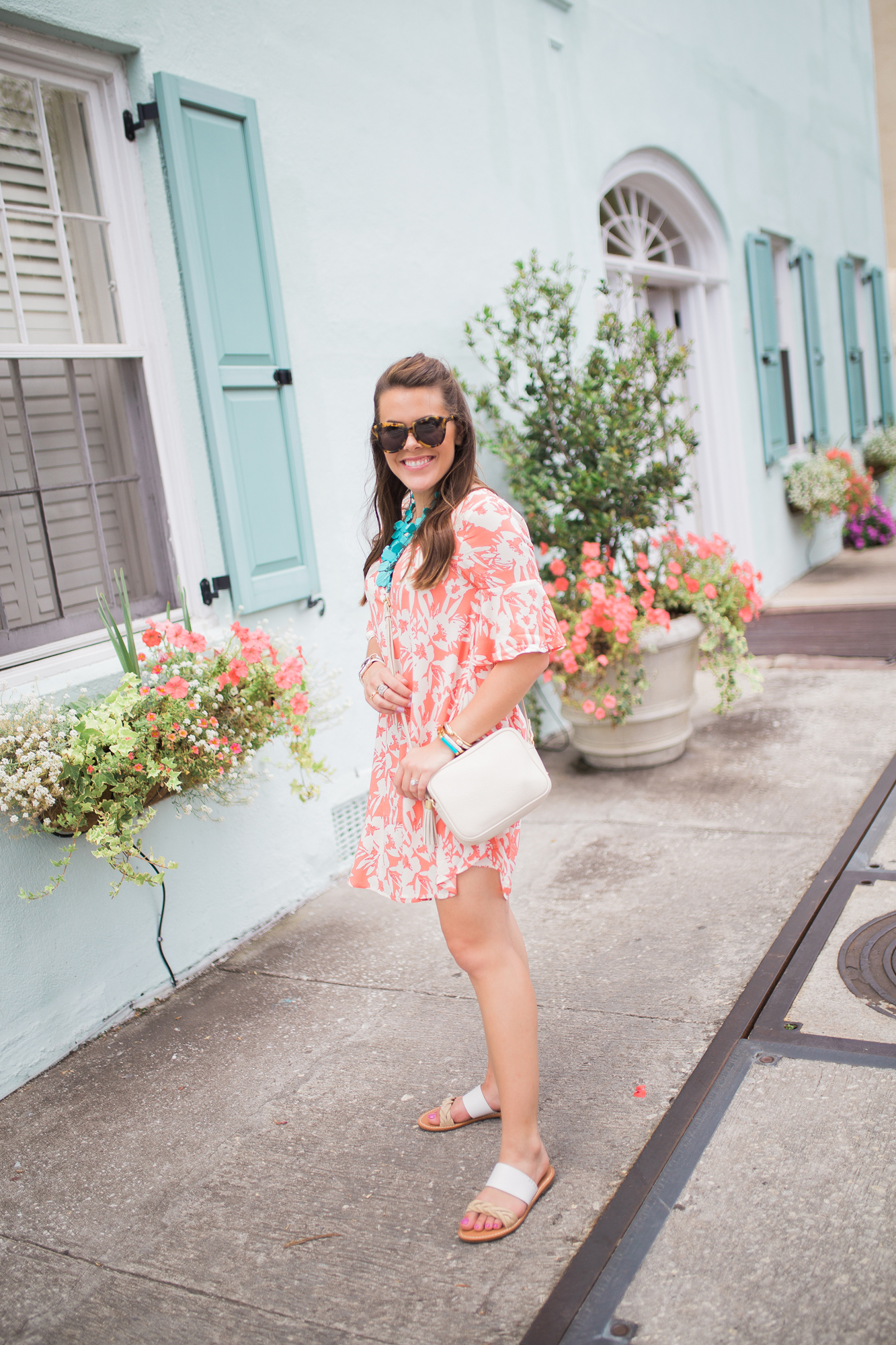 Orange Floral Dress / rainbow row, Charleston