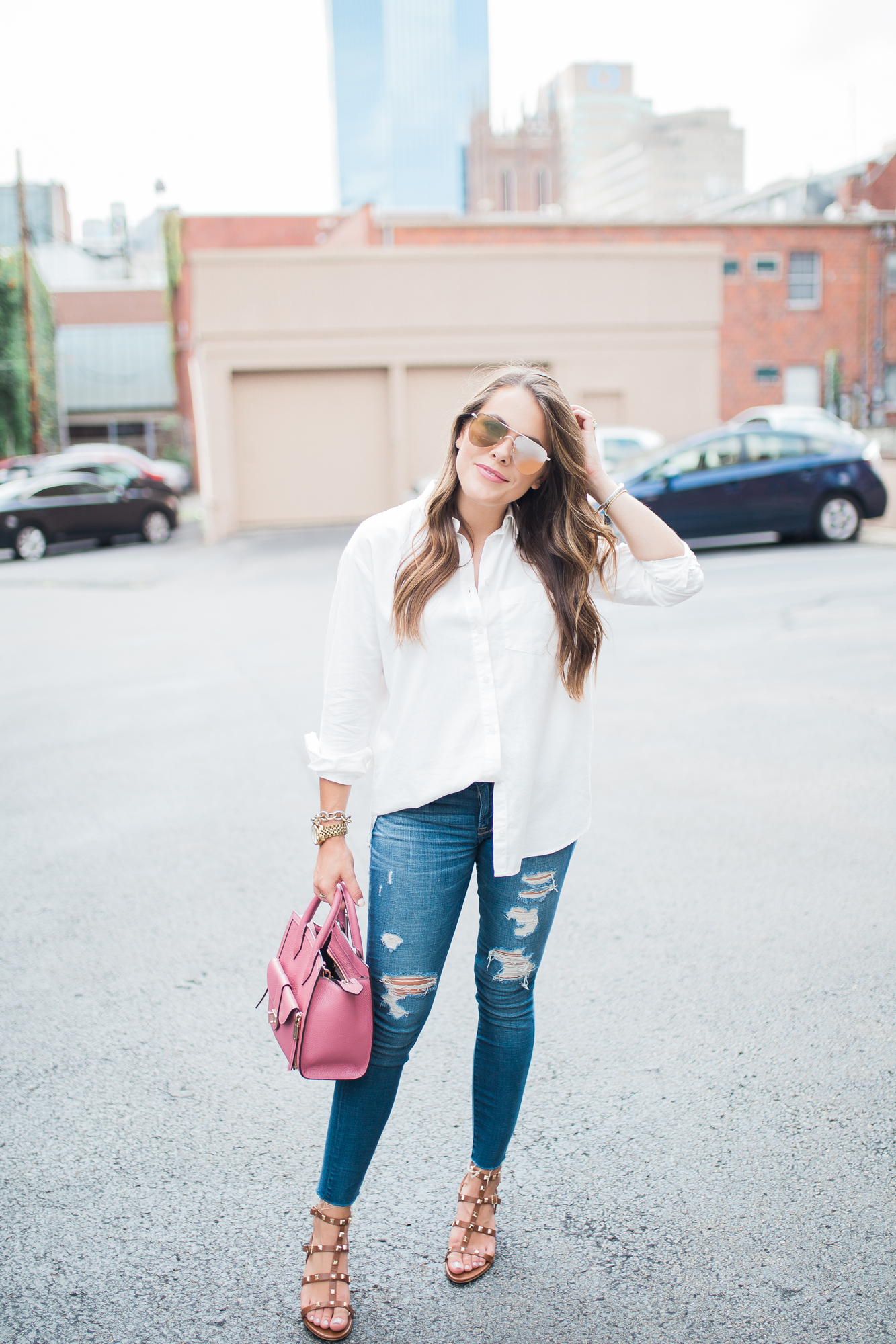 The Best Oversized White Button Up / Summer to fall fashion