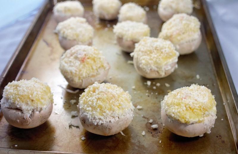 crab stuffed mushrooms with balsamic glaze
