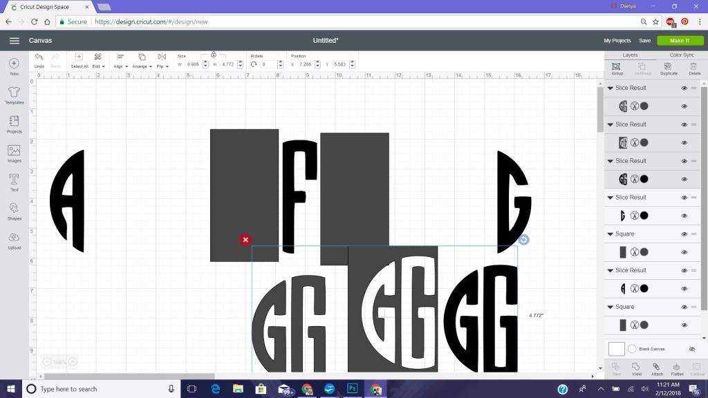 Block circle monogram with cricut