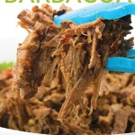 white bowl of shredded slow cooker beef barbacoa with cilantro