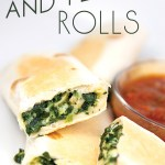 spinach and feta rolled in a tortilla and cooked with a cup of salsa with title