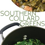 photo collage of a pot of cooked collard greens with a ham hock and bowl of the same