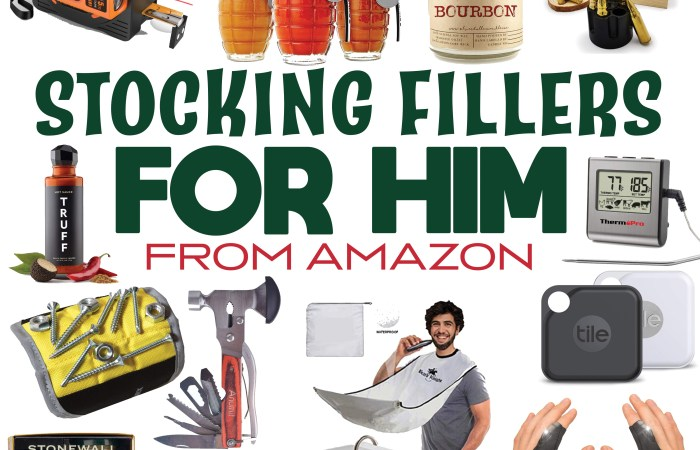 photo of a bunch of different stocking fillers for him from amazon