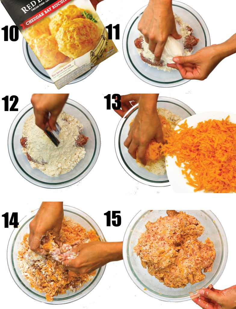 photo collage of adding red lobster biscuit mix and shredded cheddar cheese to glass bowl of sausage and mixing together
