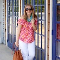 Colorful Cold Shoulder Top thumbnail