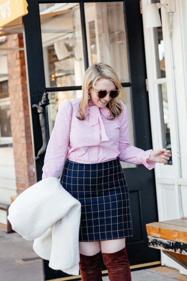 Ann Taylor Striped Poplin Ruffle Tie Neck Blouse, Pink Shirt for Work