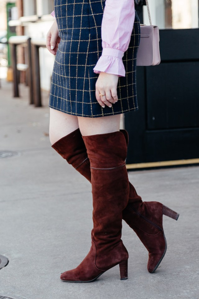 How to wear over the knee boots to work, suede boots to the office