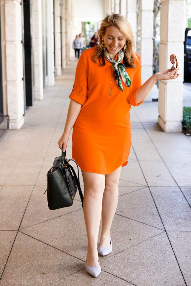 Why You Should Schedule Blog Posts in Advance, Mad Men-style dress, orange mini shirt dress