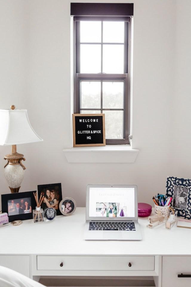 Feminine Desk Setup, Girly Desk Decor