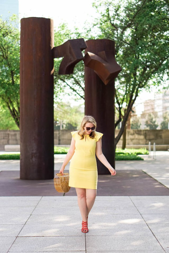 How to Wear a Yellow Dress, How to Wear Pink Shoes, Colorful Summer Work Outfit
