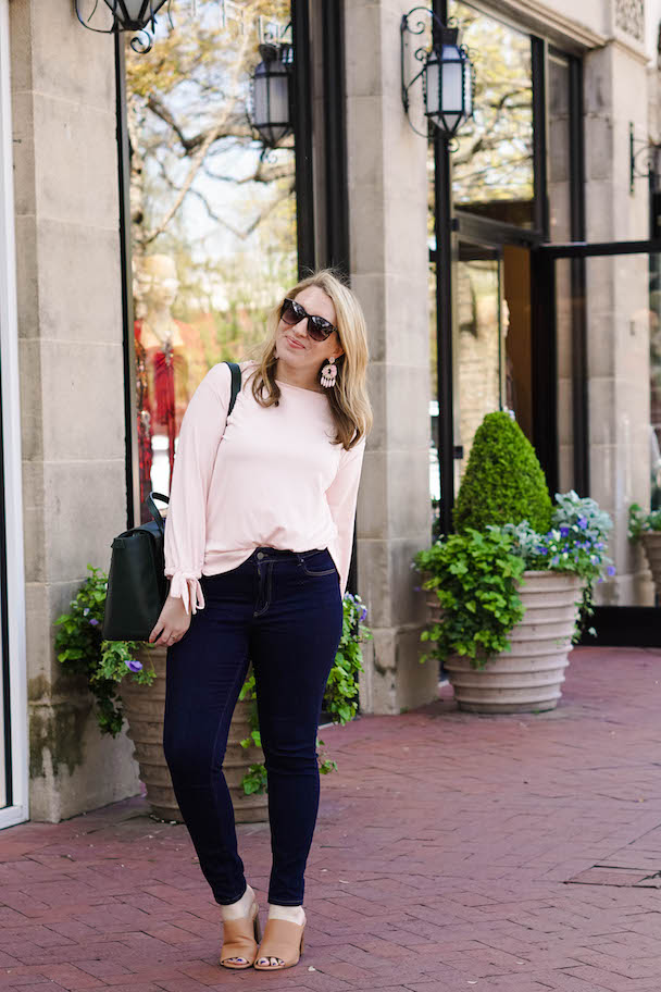 Pink long-sleeved shirt, Ann Taylor shirt, bow-sleeve blouse, comfy shirts to wear to work