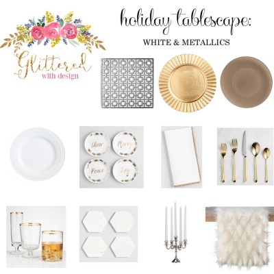 Holiday Tablescape: White, Silver and Gold