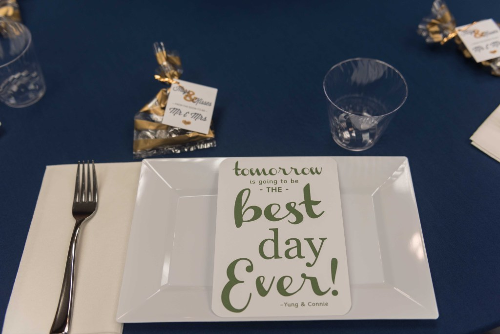 Navy and Gold Rehearsal Dinner Decor - Glittered with Design Blog