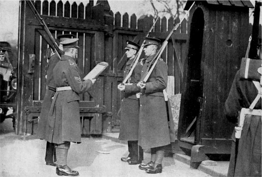 Men of the 1st Battalion Worcesters - changing guard at the Tower of London