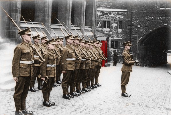 The Main Guard of One Officer and 14 men, guard the Crown Jewels