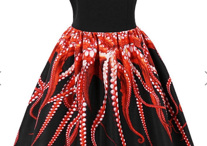 Retro Octopus 3D Print Pin Up Dress